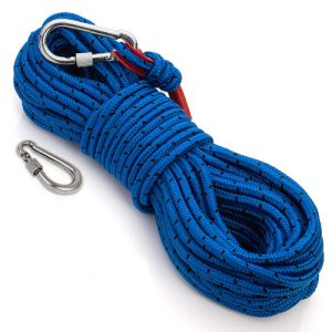 Loreso Magnet Fishing Rope w Carabiner 1200 Lb Pulling Force Limit