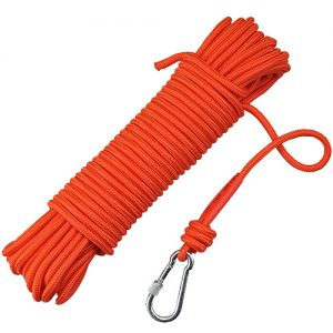 Syiswei Nylon Fishing Rope and Carabiner 65 ft 1102 lb 6mm 8mm magnet fishing rope